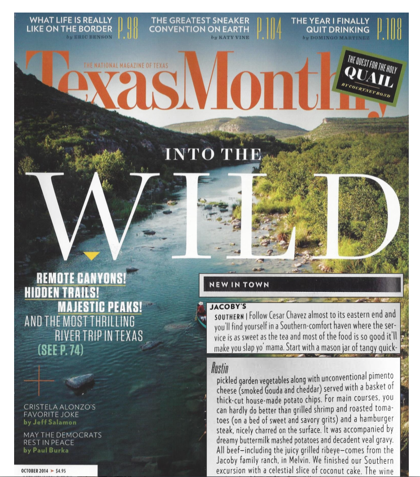 Texas Monthly Press on Jacoby's Austin