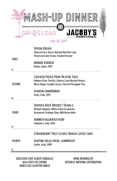 Jacoby's Restaurant & Mercantile 7 18 17 Mashup Dinner Menu